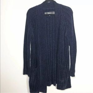 BNCI Sz Medium Navy Blue Chenille Cardigan Sweater